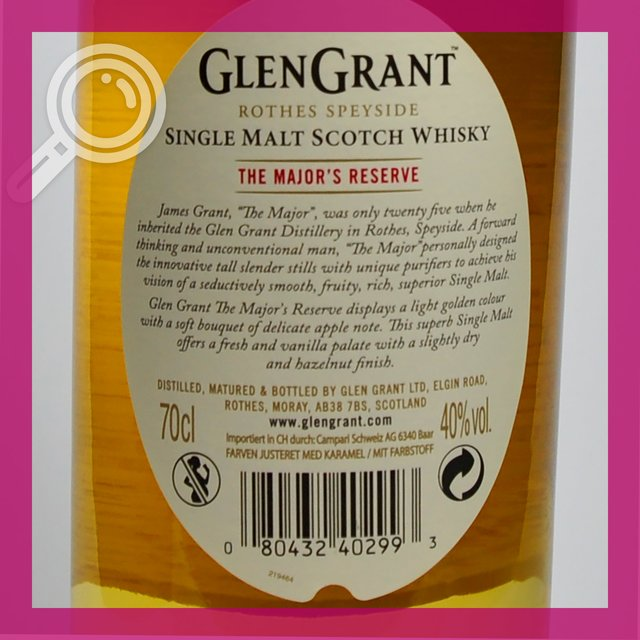 Glen Grant The Majors Reserve: 40,0%vol 70cl
