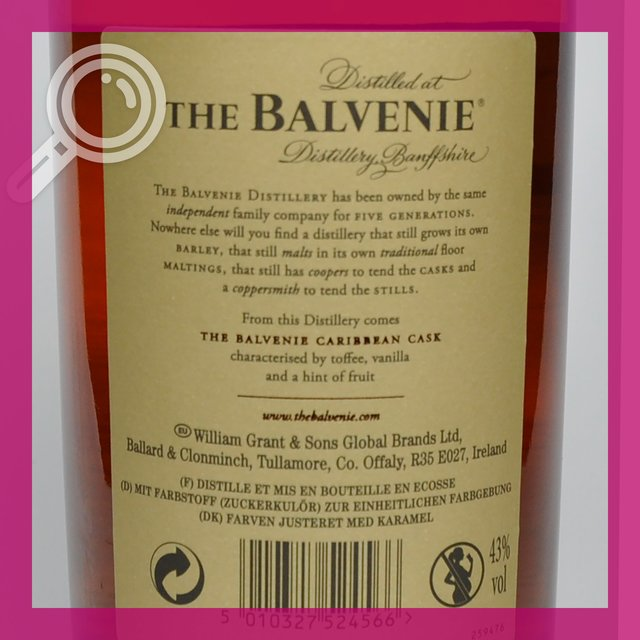 Balvenie 14yo Carribean Cask: 43,0%vol 70cl