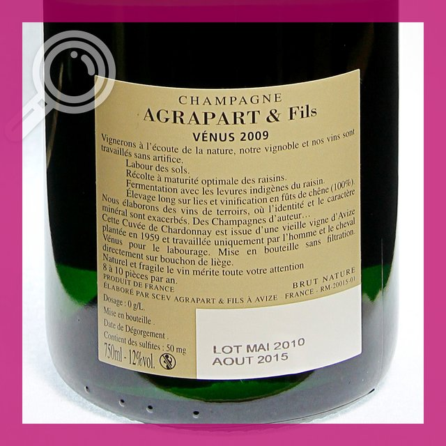 Agrapart Venus 2009: brut-nature 12,0%vol 75cl
