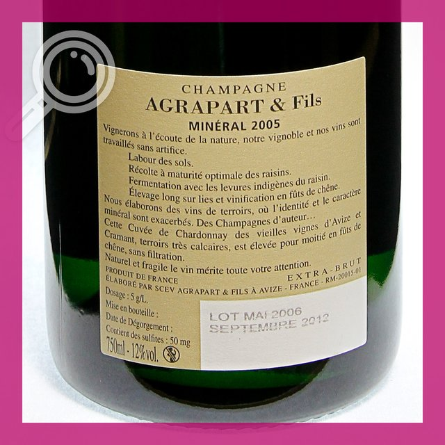 Agrapart Mineral 2005: extra-brut 12,0%vol 75cl