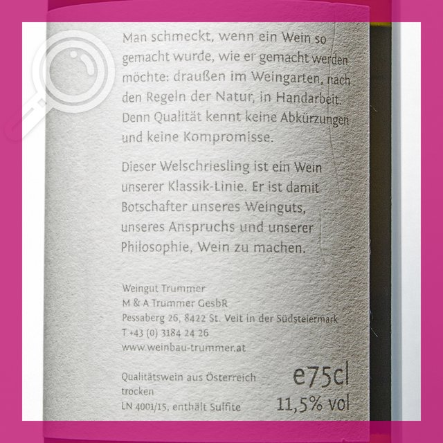 Trummer Welschriesling: 11,5%vol 75cl