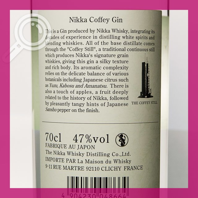 Nikka Coffey Gin: 47,0%vol 70cl