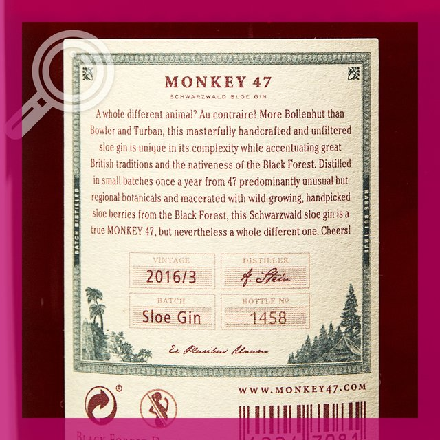 Monkey 47 Sloe Gin: 29,0%vol 50cl