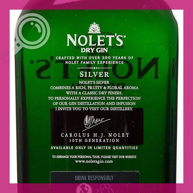 Nolets Dry Gin Silver: 47,6%vol 70cl