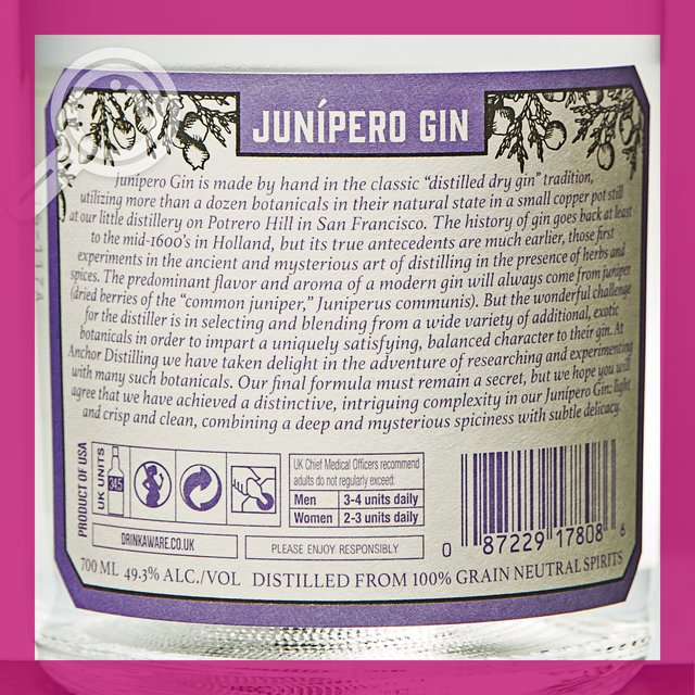 Junipero Gin: 49,3%vol 70cl